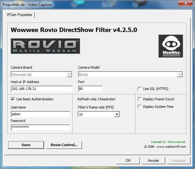 Rovio Direct Show Filter