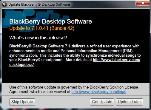 Screenshot of the Blackberry update window