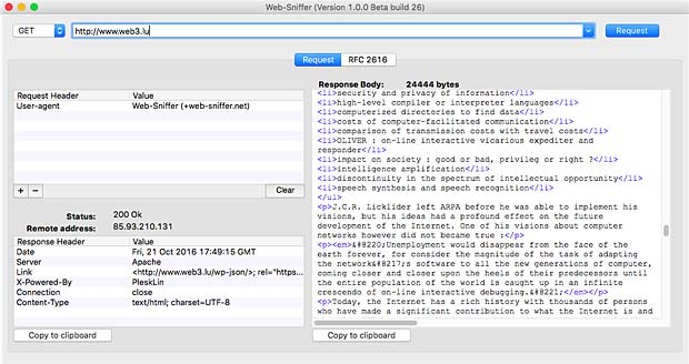 Web-Sniffer App on Mac OS X El Capitan