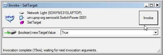 UPnP Device Spy Tool : Invoke action ON