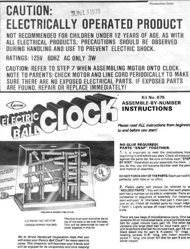 First page of the assembly instruction of the Arrow Ball Clock kit