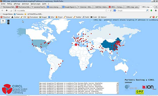 CIRCL map showing real-time attacks targeting IP addresses  in Luxembourg