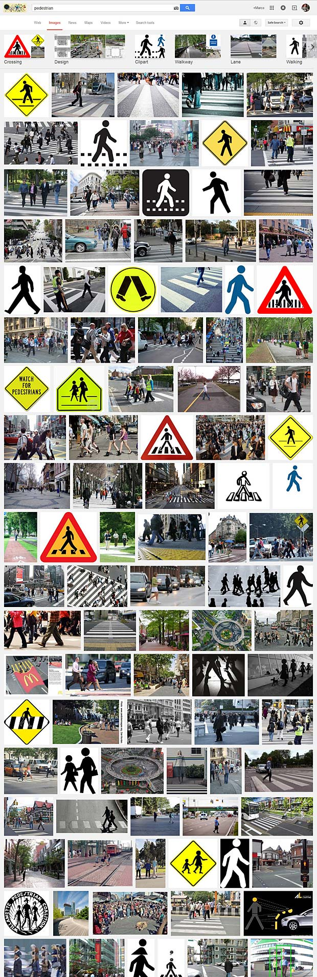 Goggle Image Search for pedestrian