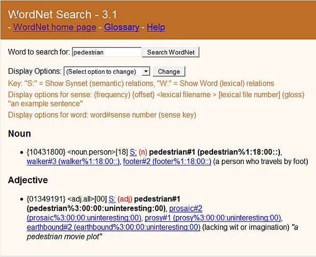 Online WordNet Search at the Princeton University