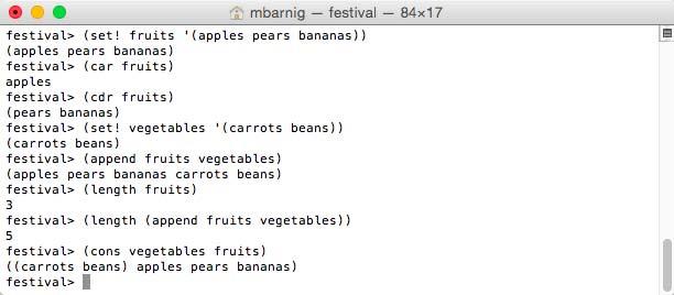Scheme list expressions