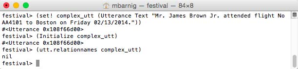 Festival Utterance Initialization