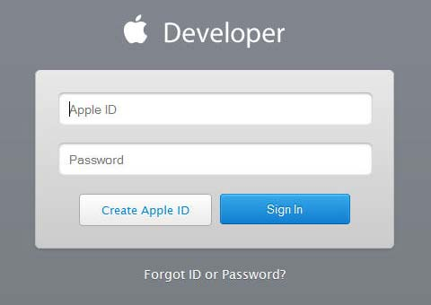 Apple Developer Member Center Login Window