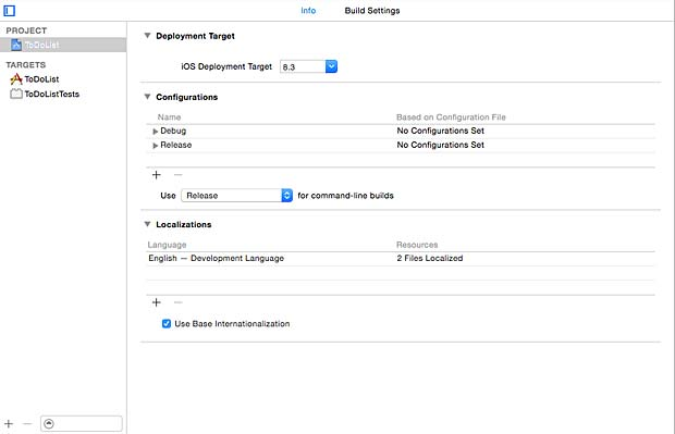 Xcode IDE Configurations