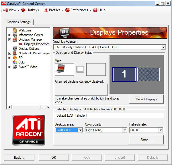 ATI Radeon Control Center Window