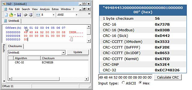 CRC32 calculation with desktop and online tool