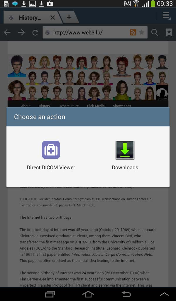 Android DICOM file download panel