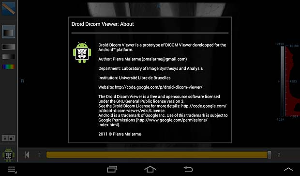 Droid DICOM viewer about panel