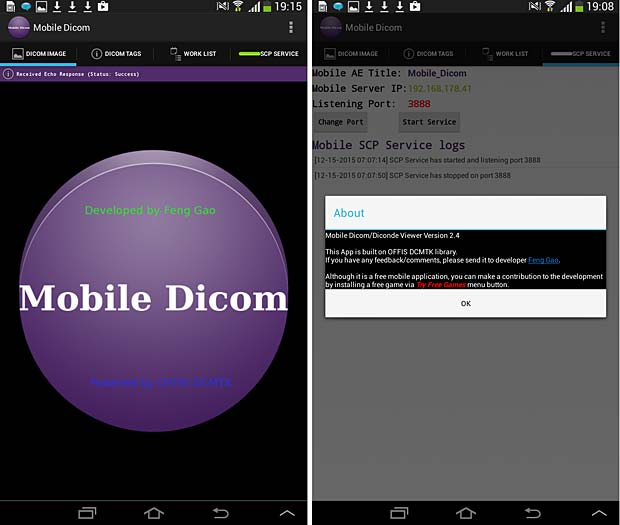 Mobile Dicom Viewer about and config panels