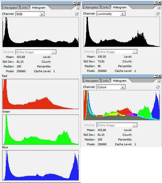 Photoshop histogram windows