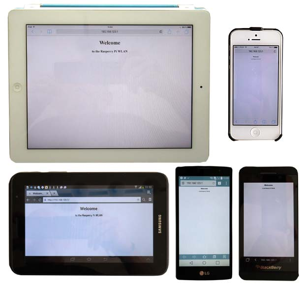 iPad, iPhone, Samsung, LG and Blackberry mobile devices conncetd to the Blackberry Pi WLAN